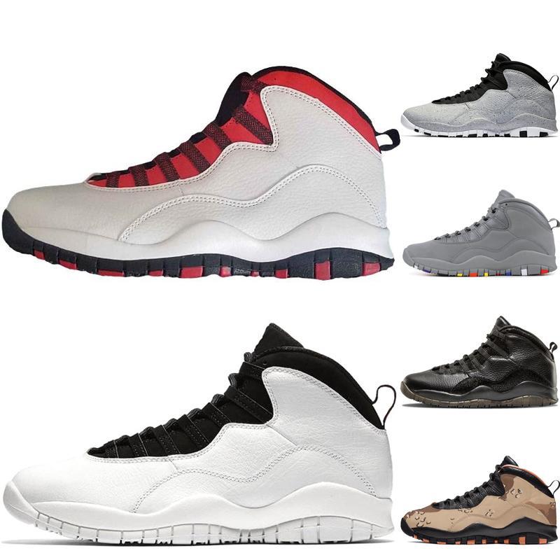 Top 10 10s zapatos de baloncesto del Mens de Camo del desierto Tinker Westbrook cemento GS Fusión Roja Chicago gris acero i M Volver Hombres Deportes zapatillas de deporte 40-47