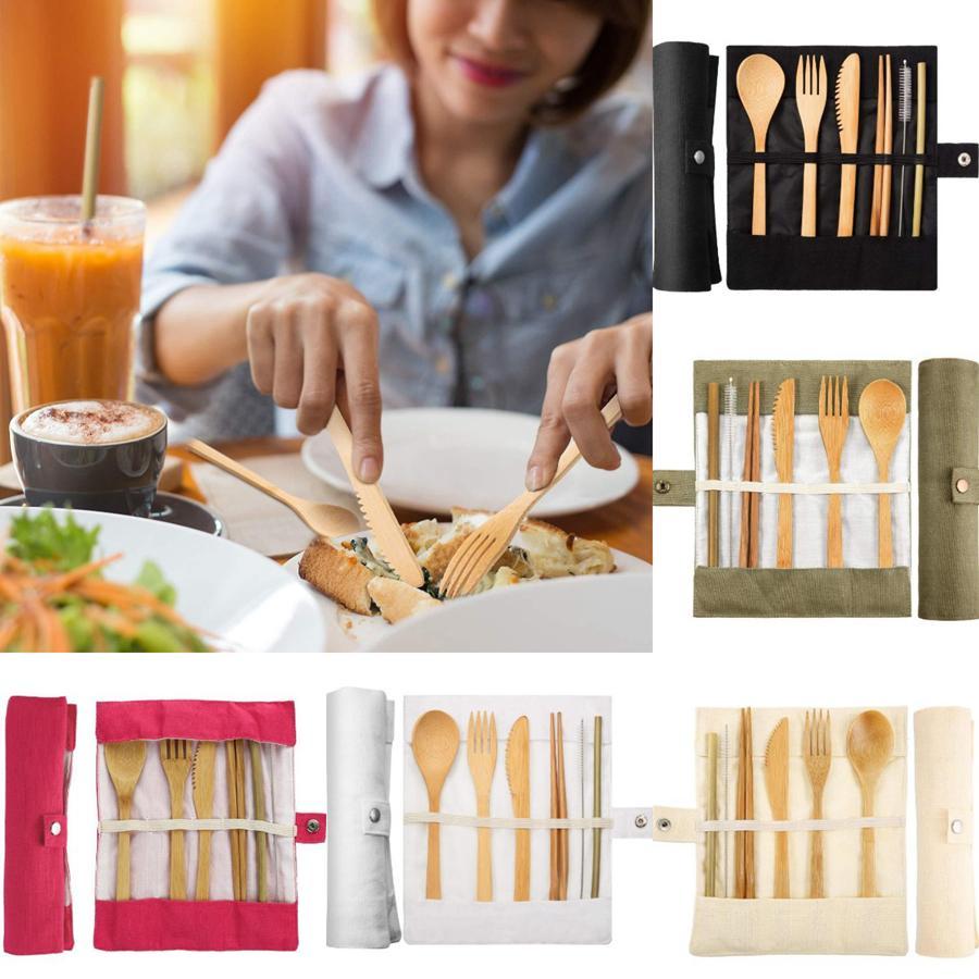 6pcs posate di legno Set Articoli per la casa di viaggio Set posate riutilizzabili Spoon Fork Knife Cannucce / set con il sacchetto di padellame regola OOA7522-7