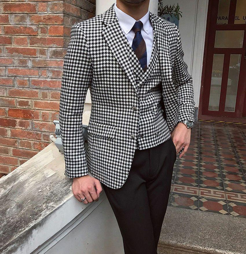 Les hommes Houndstooth Dogstooth Costumes Smokings Checkered Blazer Houndstooth bal costume formel costumes homme Custom Made (veste + pantalon + veste)