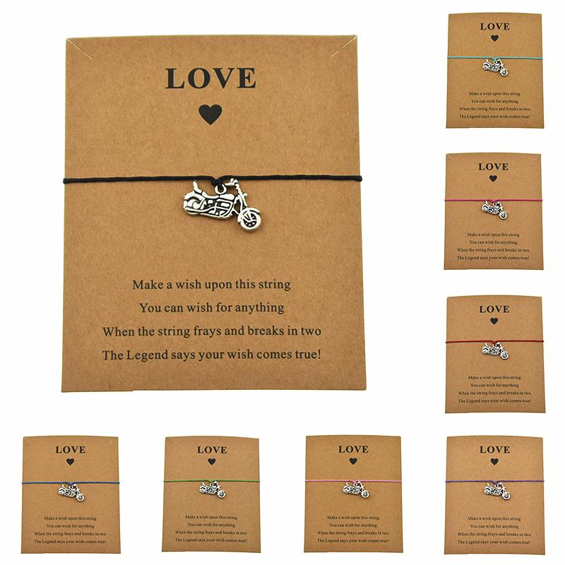 8 Colors Punk Motocross Motorsport Gifts Accessories Motorbike Motorcycle Charm Love Card Wax Cord Bracelets Make A Jewelry