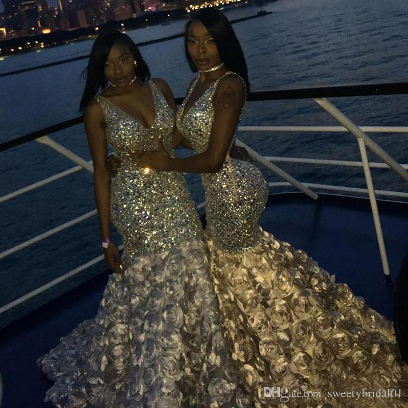 Bling Bling Gold Lace Mermaid Prom Dresses Sexy Deep V Neck Beads Crystals 3D Floral For Black Girls African Evening Dresses Plus Size