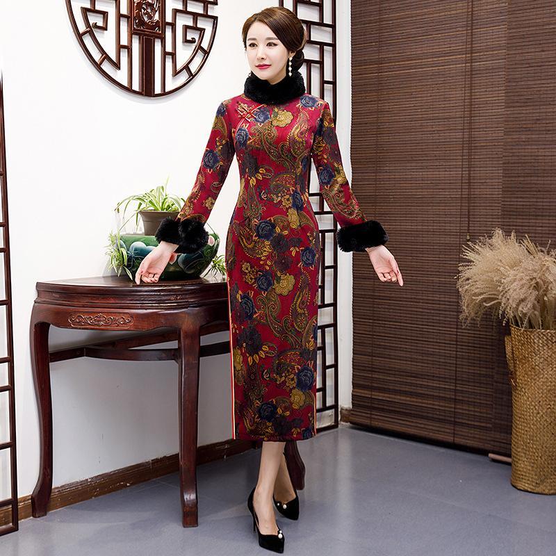 Neue Ankunft Chinesische Traditionelle Frauen Lange Qipao Wildleder Baumwolle Cheongsam Neuheit Chinesisches Formales Kleid Größe M L XL XXL 3XL 4XL