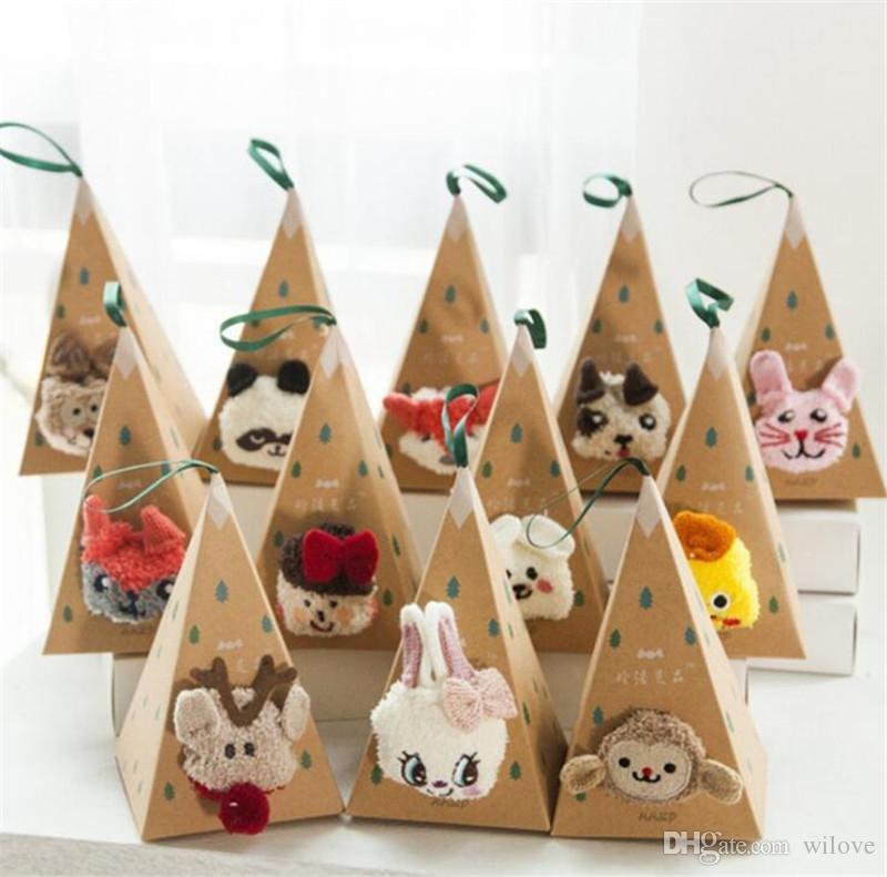 New Adult Kids Christmas Non-Slip Floor Socks Coral Velvet Thickening 3D Cartoon Embroidery Popular Dog Paws Christmas Stockings Gift Bag