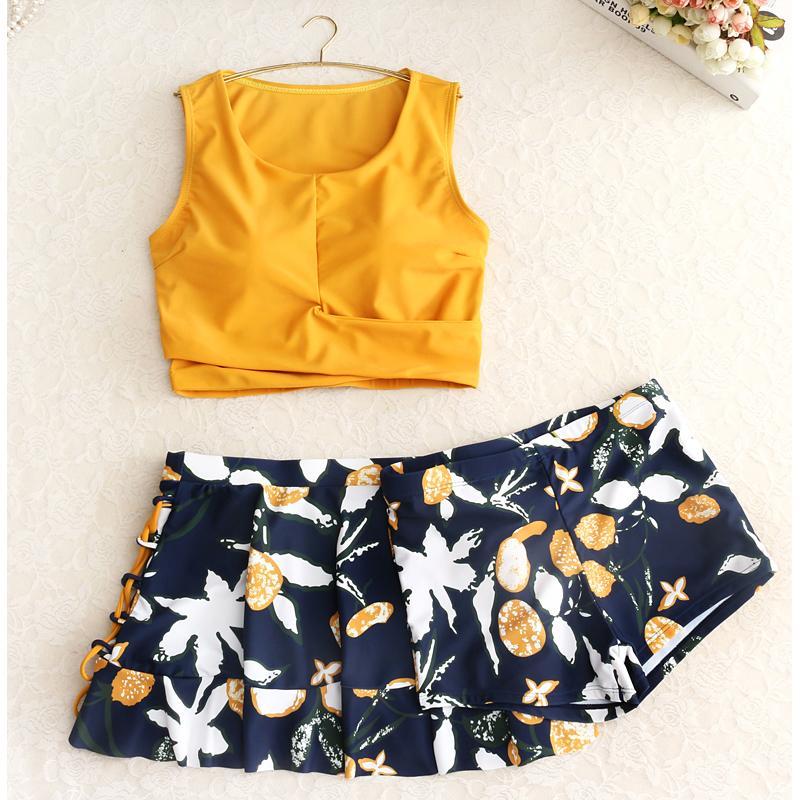 costumi da bagno gialla Mujer 2019 bikini set costume da bagno biquini Costume da bagno delle donne separate con pantaloncini tankini vita alta ma il nuoto