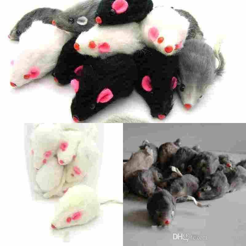 реальный кролик мех мышь для кошки игрушки мышь со звуком высокое качество Бесплатная доставка 1 шт. смешать цвет