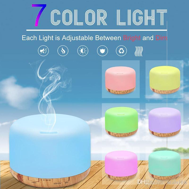 500ml Aceite esencial Difusor Humidificador Decoración de la habitación Configuración de iluminación Lámparas LED cambiantes y apagado automático Sin agua Fragancias para el hogar HH7-2012