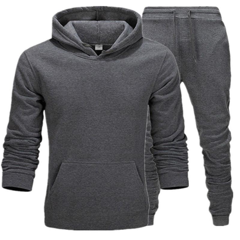 Yeni Sıcak Yeni Erkekler Kazak Eşofman Termal İç Giyim Erkekler Spor Fleece Kalın Hoodie + Pantolon Spor Suit Erkek Takımları