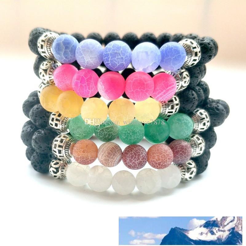 6 stili Frosted pietra preziosa liscia pietra agata Bracciali Perle 8mm Matte allentati rotondi braccialetto per le donne Ragazze Bangle Jewelry