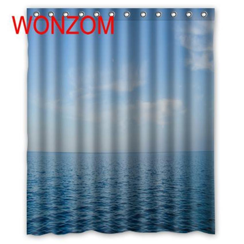 Blue Modern Shower Curtain Waterproof Polyester Fabric /& 12 Hooks Bathroom Bath