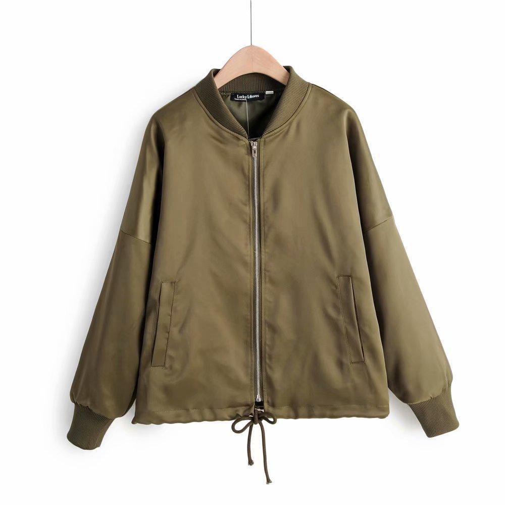 2019 новый стиль западный стиль похудения Лук шнуровка стенд воротник пилоты женская куртка 078-z265