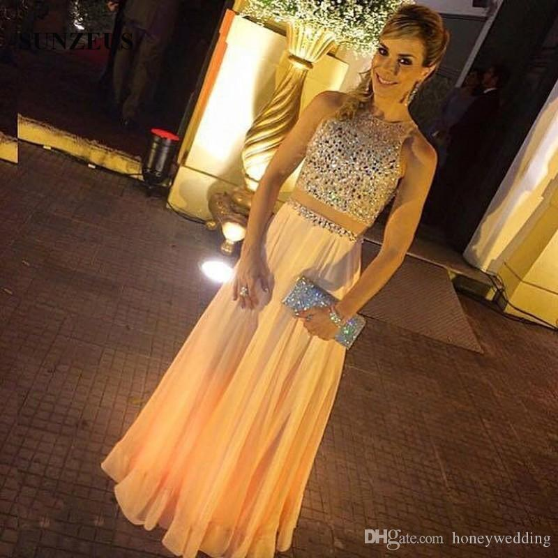 Beaded Prom Dresses A-line Long Chiffon Two Pieces Party Gowns Women Customize Prom Dress Free Shipping