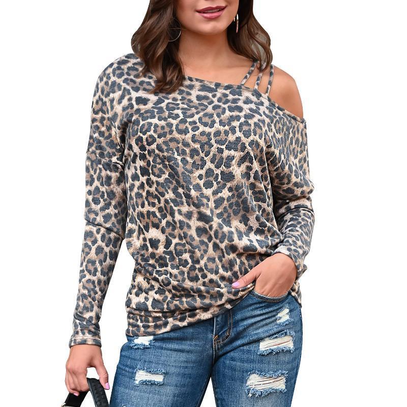 t-shirt feminina t-shirt feminino 2020 manga comprida pulôver tops sexy leopardo imprimir um ombro tees outono roupas de primavera