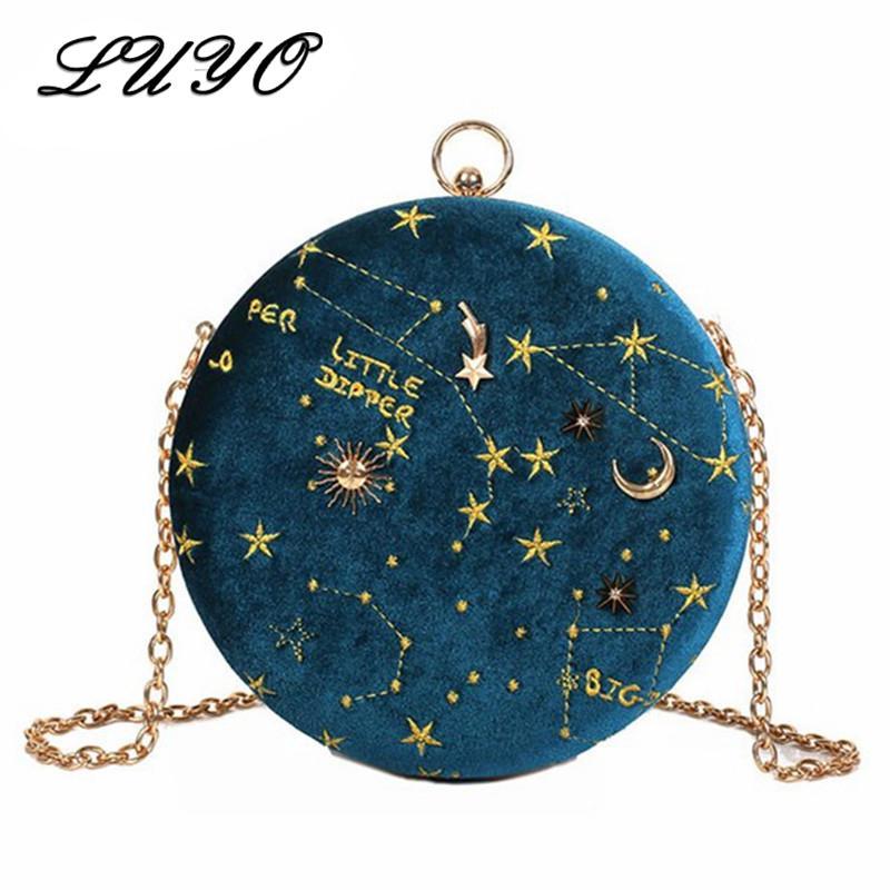 Circular estrellada de moda ante Bolso Crossbody cadena bolsas de mensajero para el bolso de las señoras de monedero femenino pequeñas y redondas