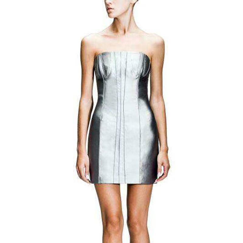 Günlük Elbiseler 2021 Model PU Deri Elbise Moda Kadınlar Straplez Bodycon Kolsuz Seksi Gece Parti Clubwear Vestidos Toptan