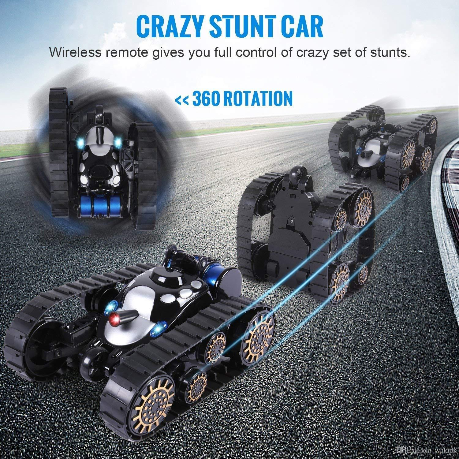 Kids Remote Control Tracked Vehicle - 360° Flip Stunt Deformation Car Model RC Tank with LED Lights and Music