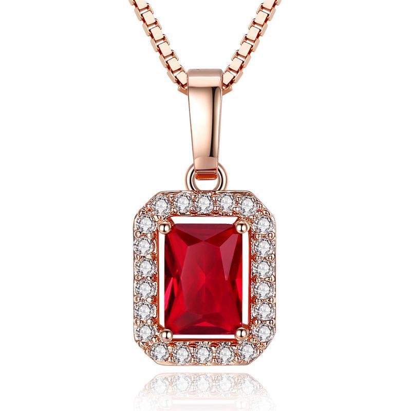 Mode Luxus Rose Gold Square Anhänger Halskette Frauen Hochzeit Engagement Roter Kristall Strass Zirkon Halsketten Kubikzirconia Party Schmuck Geschenk für Mädchen