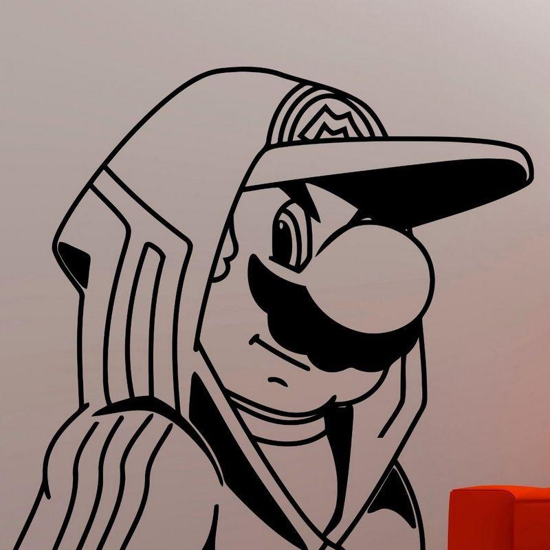 Super Mario de la etiqueta engomada de vídeo regulador del juego del juego de la etiqueta de jugador Juego de carteles Adhesivos de decoración mural de videojuegos etiqueta de la pared