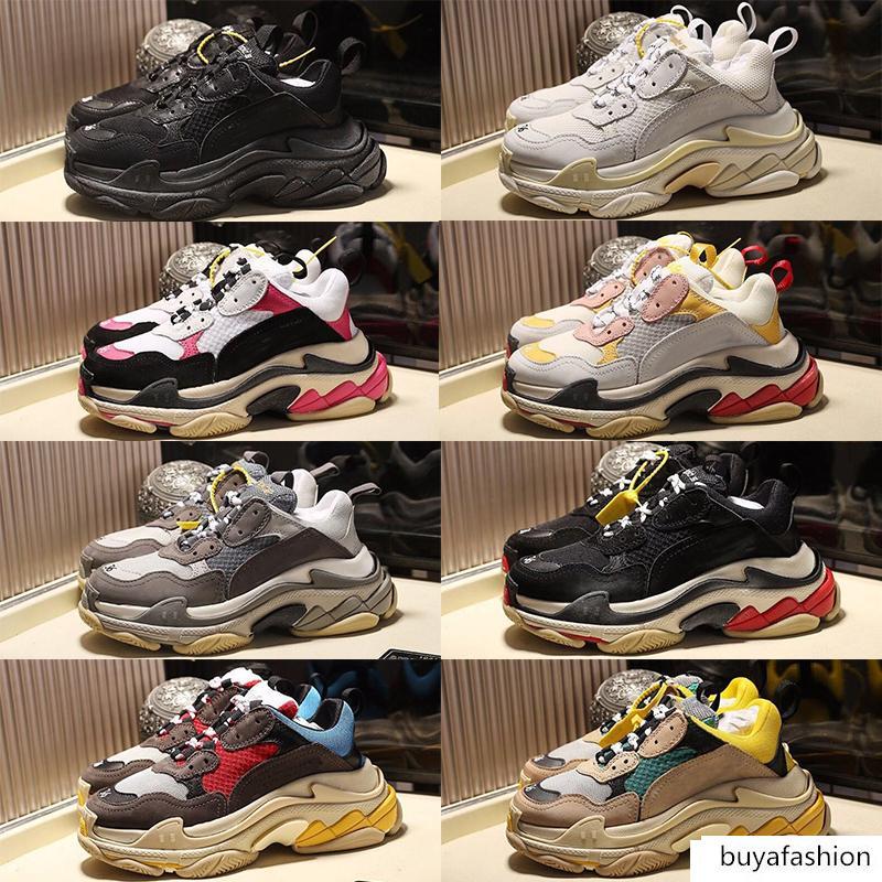 2020 Vintage Eski Baba Ayakkabı Üçlü S Moda Paris platformu Kombine tabanı Günlük Ayakkabılar Retro Siyah Üçlü Bej Aksak Sneakers Erkek Kadın