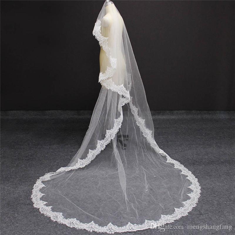 Wedding Accessory Wedding Veil Black Lace Edge Long Bridal Veil With Comb