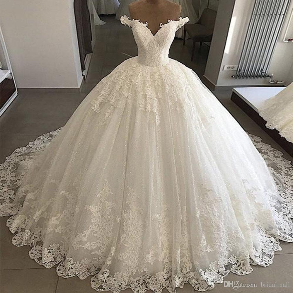 Gerçek Görüntüler 2020 Lüks AYDINLATMA Dantel Balo Gelinlik Off Omuz Chruch Gelin Giydirme Lace Up Geri Gelinlikler elbiseler de mariée