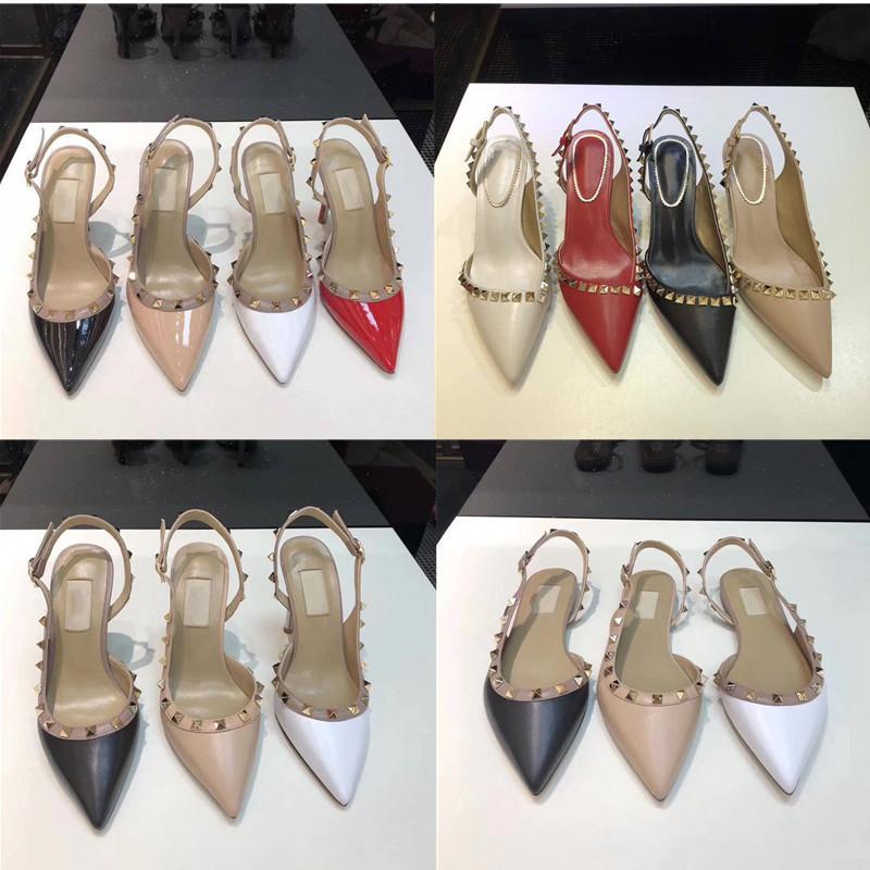 Diseñador de las mujeres altos Stud sandalias del dedo del pie del cuero genuino en punta de talón abierto bombea los zapatos de las señoras de baile clava los zapatos del partido de las muchachas atractivas de la manera