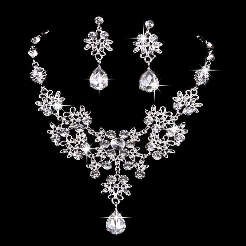 6 colores de las mujeres de Bling de Cristal Nupcial Conjunto de Joyas de plata collar de la declaración de Boda Cuelga Los Pendientes para la novia Damas de Honor Accesorios