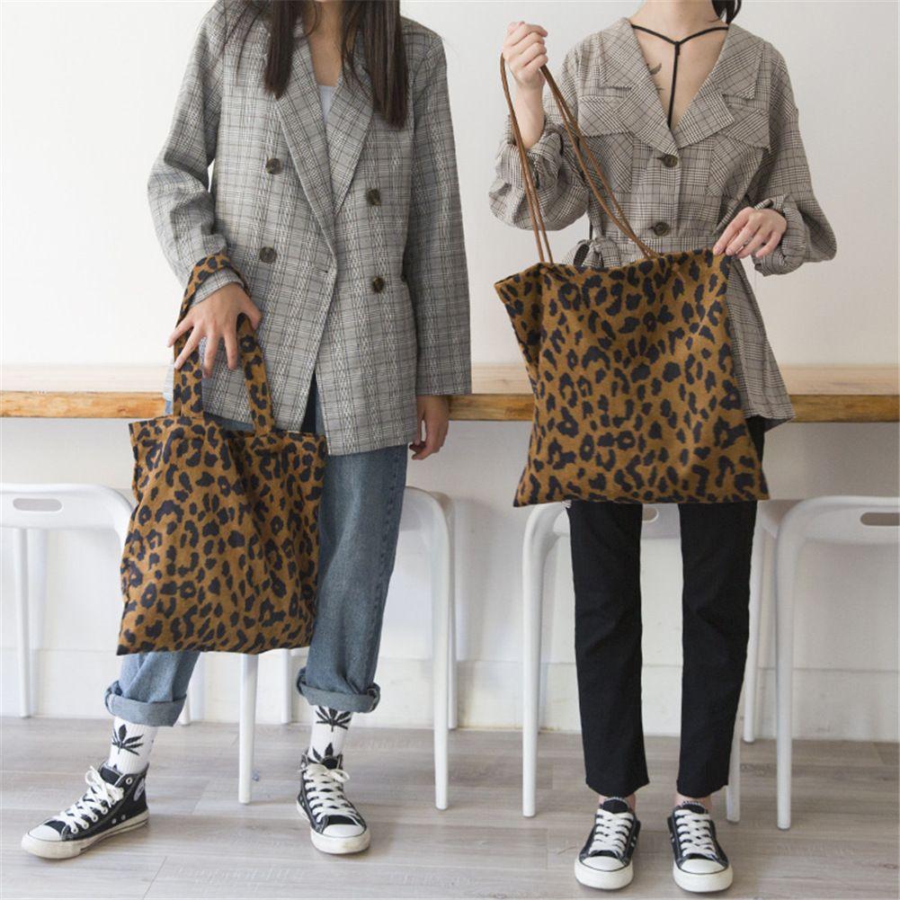 Leopard Print Shoulder Bag Corduroy Vintage Fashion Leopard Tote Hand Bags Women Ladies Casual Shopping Shopper Handbags Purse MMA1736