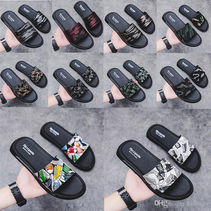 10 cores dos homens sapatos casuais desgaste interior e exterior das sandálias e chinelos rua maré esportes hip-hop a palavra do tipo arrastar antiderrapantes