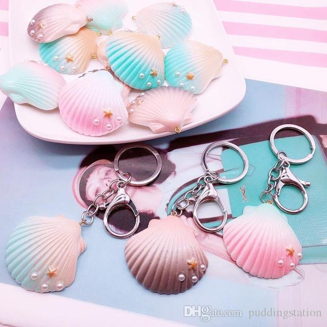 Shell in resina glitter KeyChain per ragazze Lovely Fashion Conch Vocation Anello portachiavi Accessori donna all'ingrosso Gioielli regalo