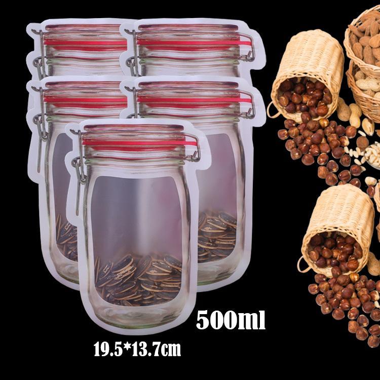 50Pcs Mason Jar Zipper-Taschen Küche Lebensmittel Frisch Sealing Weckglas-Flaschen-Beutel Snack versiegelte Beutel für Kühlschrank Küche Organizer
