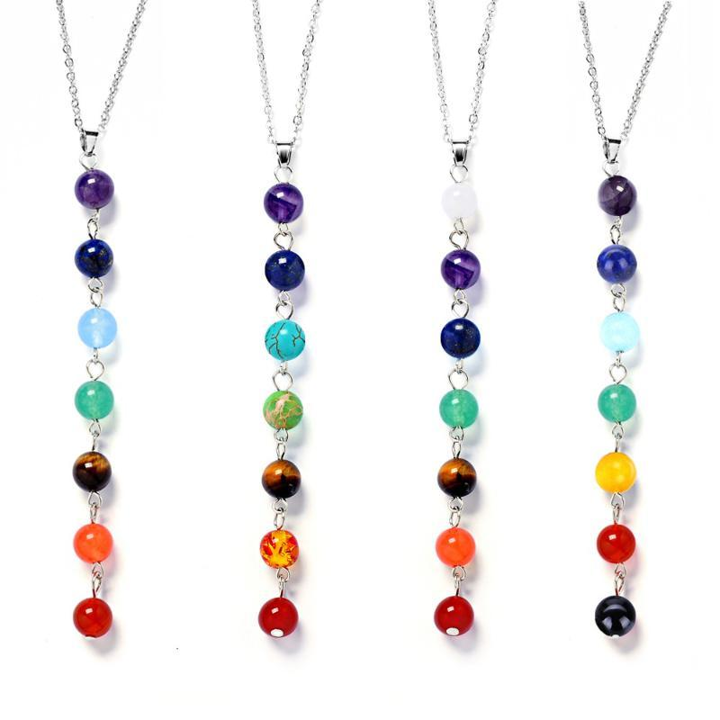 Silver Color Simple Style 7 Chakra Multicolor Natural Stone Beads Pendant Necklace Long Chain For Women Charm Collier collares