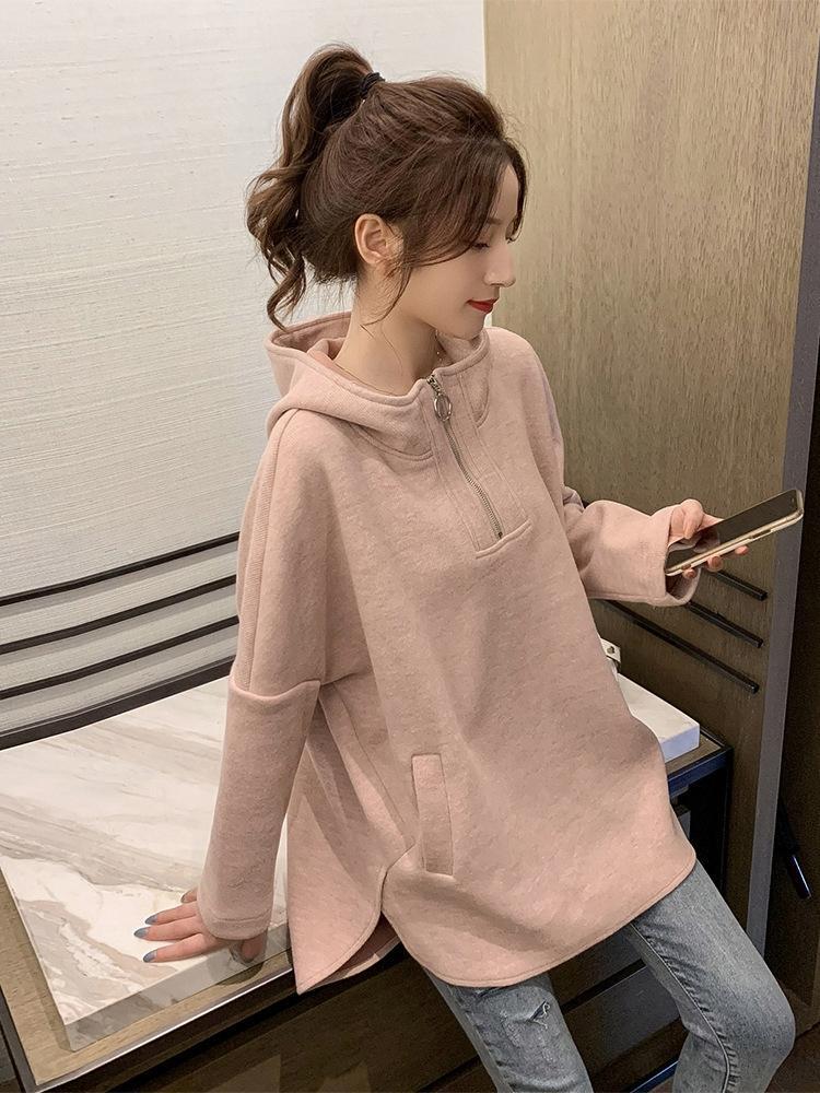 Automne 2019 Nouvelle-coréen Haut à capuche manteau pull col montant manteau minceur lâche des femmes pull vert style occidental haut de style paresseux