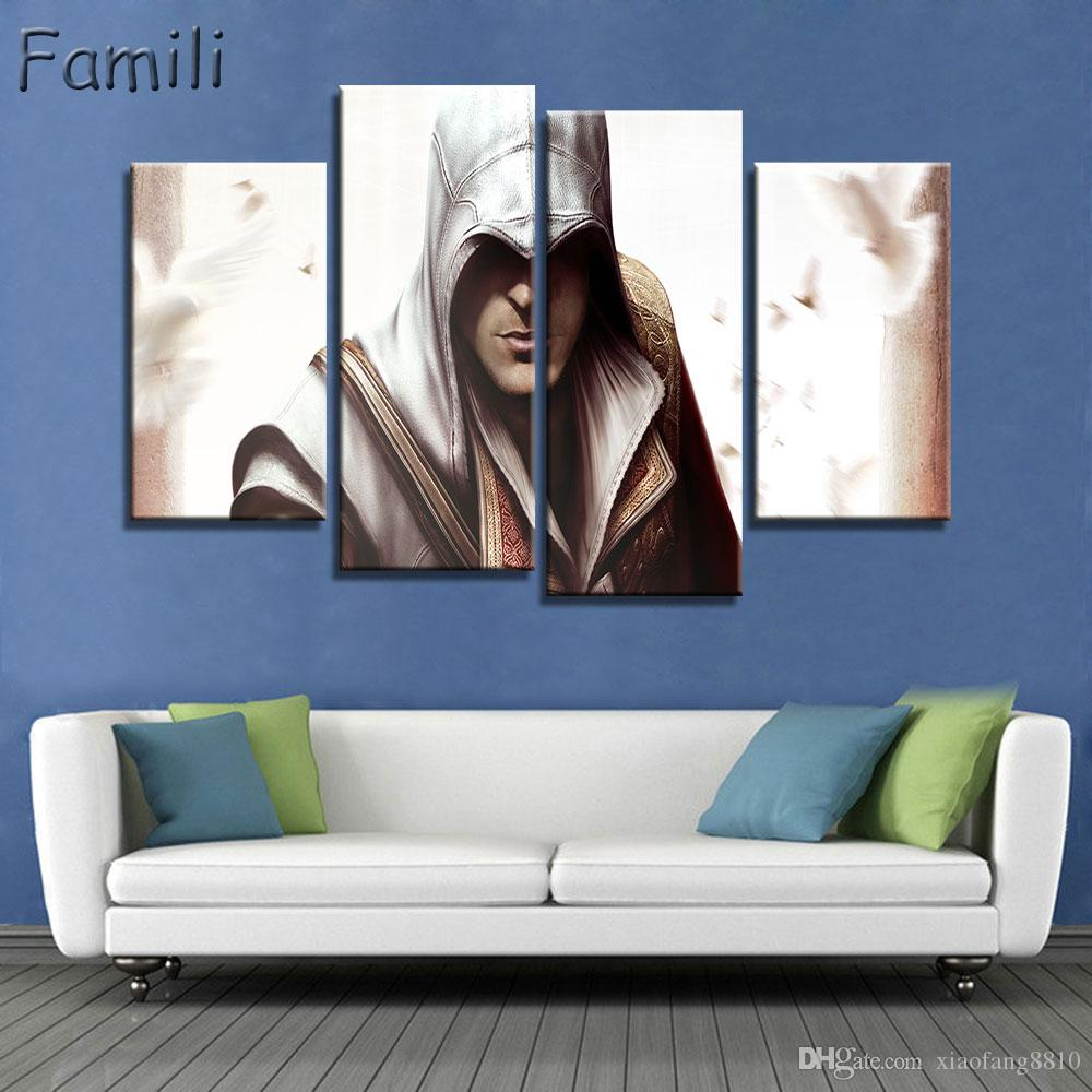 4pcs Assassins Creed Game Characters Poster Modern Home Wall Decor Canvas Picture Art HD Print Painting On Canvas For Living Room