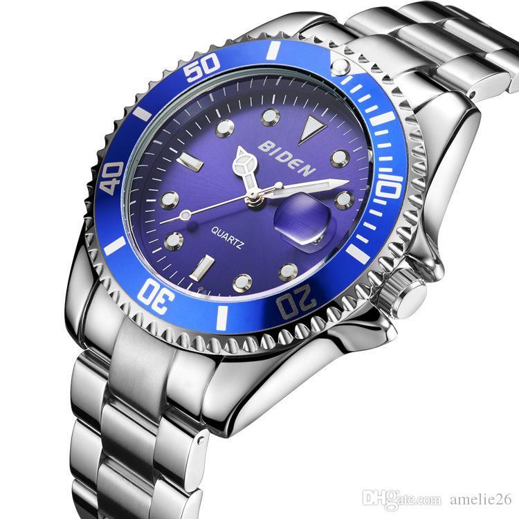 2019 homens relógio relogio masculino moda esportes relógio de quartzo grade de aço inoxidável luxo mens relógios relógios homens presente