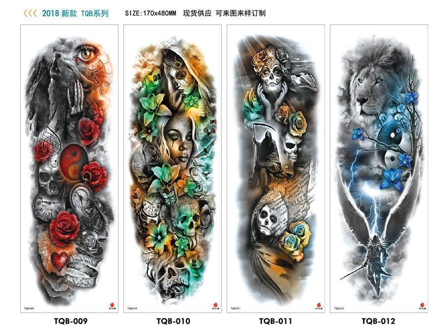 Temporär 480 * 170 millimetri full-braccio impermeabile autoadesivo del tatuaggio alla moda, bello, semplice, la consegna resistente, comodo e gratuito provvisorio del tatuaggio