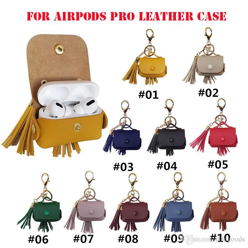 Кисточки кожаный чехол для Airpods Pro Protector Case Airpods3 металлическая кнопка кожаный чехол наушники сумки анти-потерянный набор с брелок