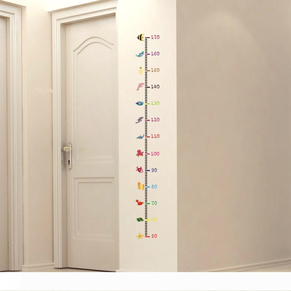 B 2019 Height Measurement Wall Stickers Cartoon Undersea Animals Wall Decals for Kids Baby Room growth chart Nursery Decoration