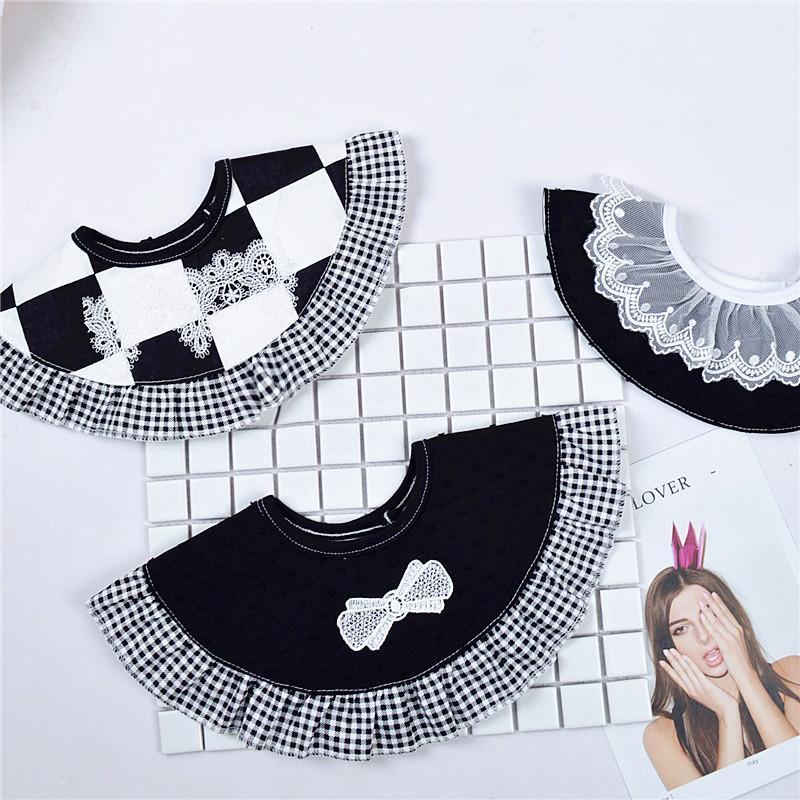 Ins Nordic style Baby Girls Coton Bavoir imperméable Cour Princesse dentelle décorative Collier Faux bébé Burp Saliva Serviette