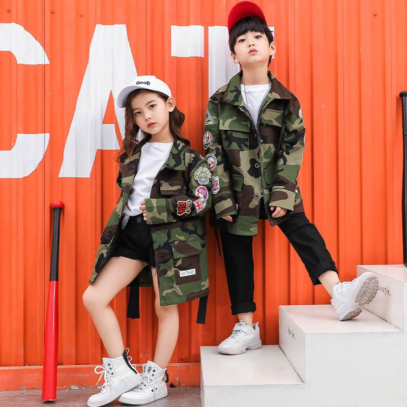 Camouflage Jacket T-shirt Pants Suit Kids Hip Hop Clothing Children Boys Girls Stage Hiphop Jazz Street Dancing Costume Clothes