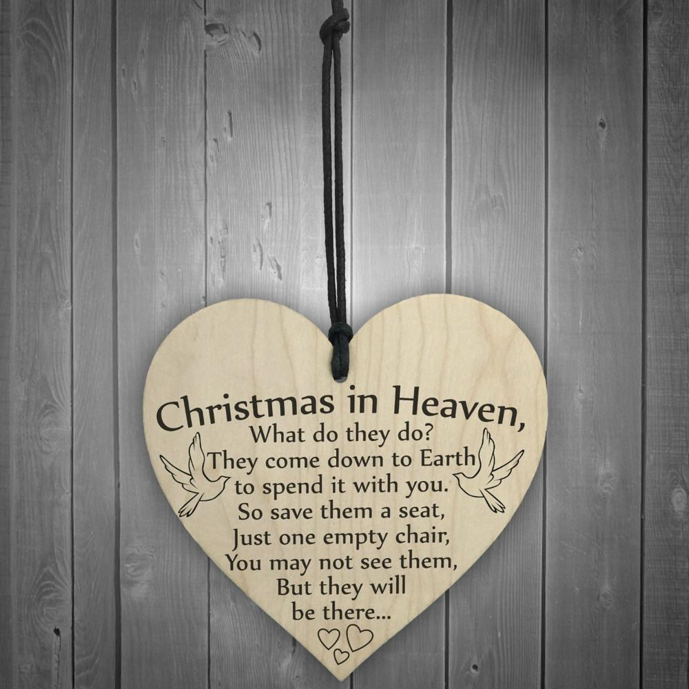 1pc Christmas in Heaven Wood Heart Plaque Sign Friendship Home Decoration High Quality Festival Product Heart Shape L*5