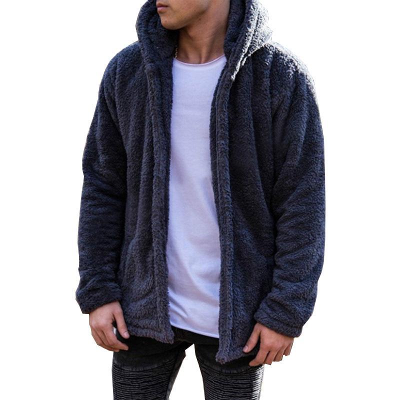 Sólido Hoodies Men 2019 Chaqueta de invierno de moda de los hombres gruesos con capucha sudadera masculina Warm Fur Liner Sportswear chándales para hombre abrigo
