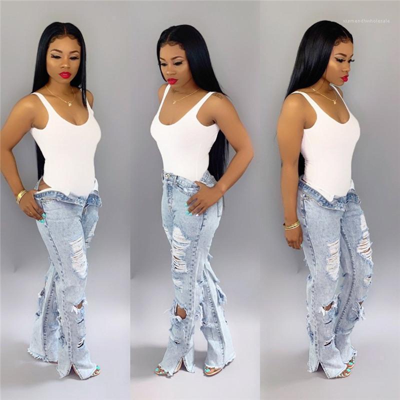 Ripped Flare Jeans Bleach dünne Jeans-Frau plus Größe Weibliche Denim Hose mit weitem Bein 2020 High Waist Jeans Womens Designer