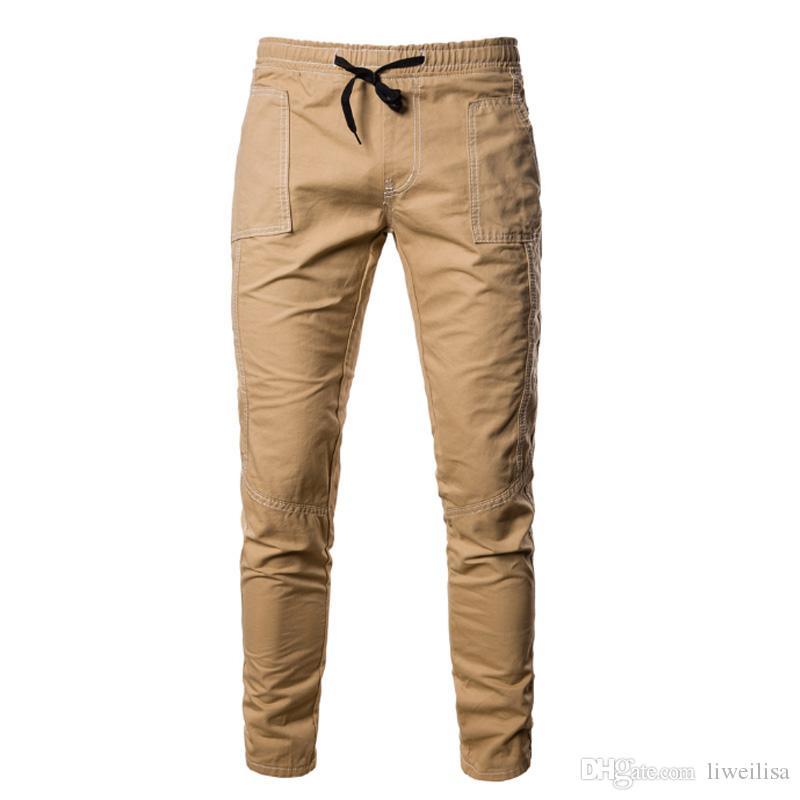 Men's Pants Fashion Men's Pure Color Bandage Casual Loose Sweatpants Drawstring Pant