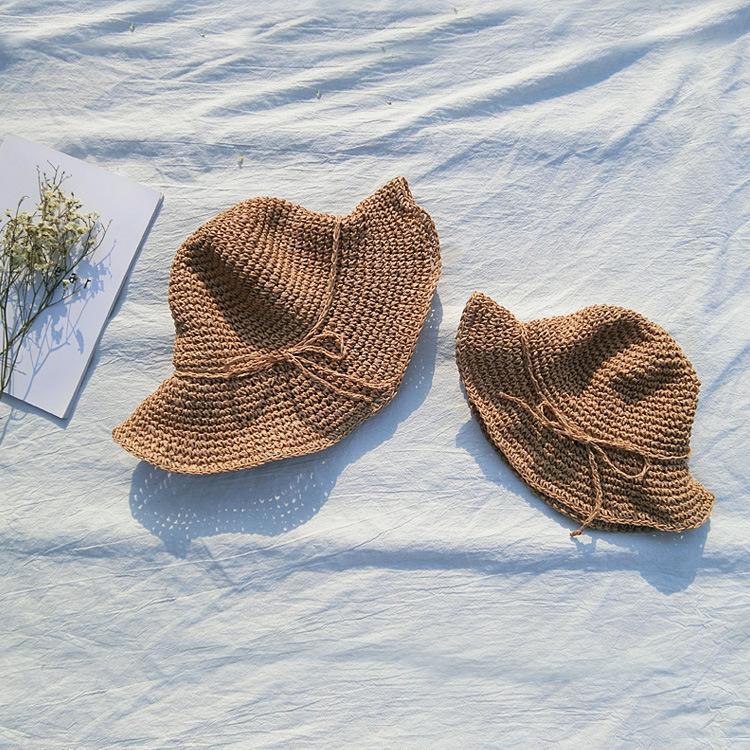 Bebek Şapka Moda Anne Ve Kızı Plaj Şapka Çocuk Kız Yay Hasır Şapka Bebek Güneş Kap Casquette Enfant Kız Headdress 2-8y J190528