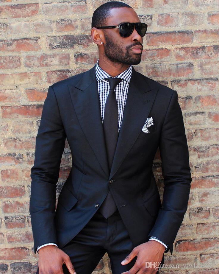 Mariage noir Smokings Slim Fit Les costumes pour hommes Costume Deux garçons d'honneur Pièces Cheap Prom costumes formels (veste + pantalon + cravate) 110