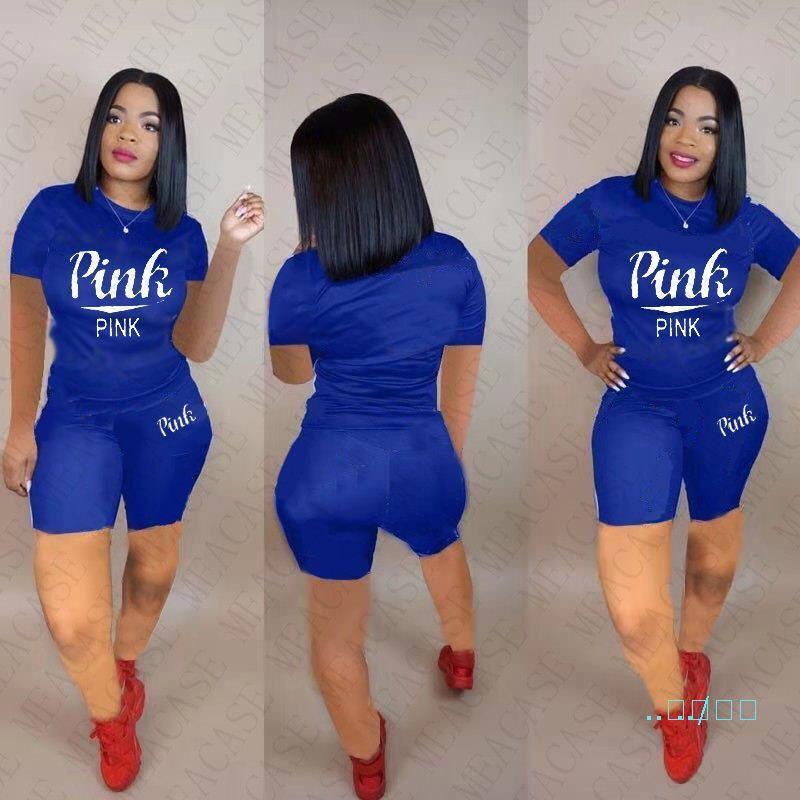 Donne Tuta Designs Lettere manica corta T Shirt Top dei pantaloni di bicchierini estate Solido Colore Donne insieme a due pezzi Outfits vestito di sport D5503