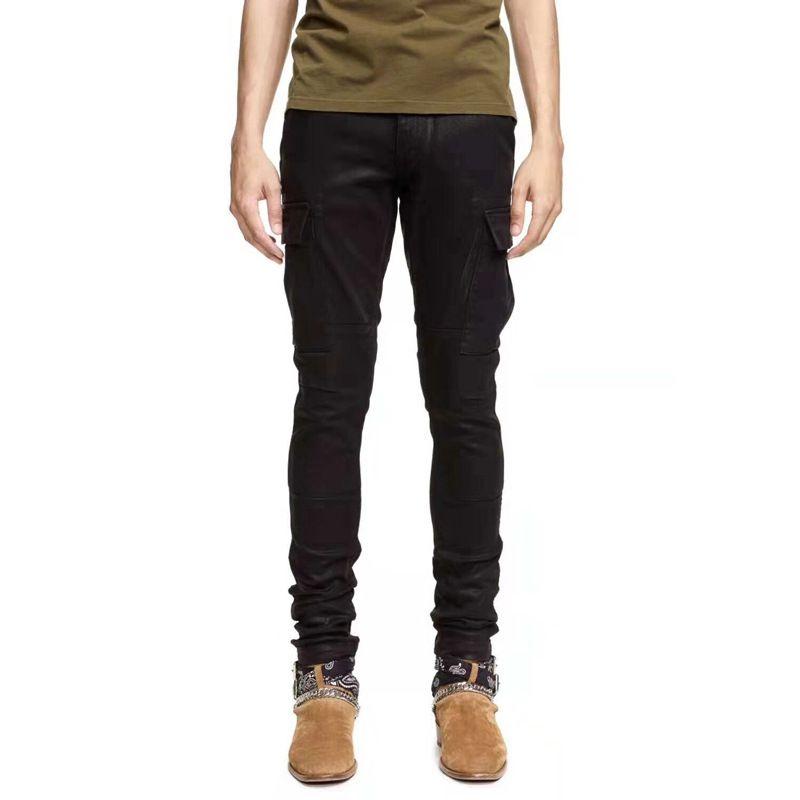 Man Pants Jeans Embellished Ribbed Stretch Pants Biker Jeans Black Slim Trousers Men Clothes