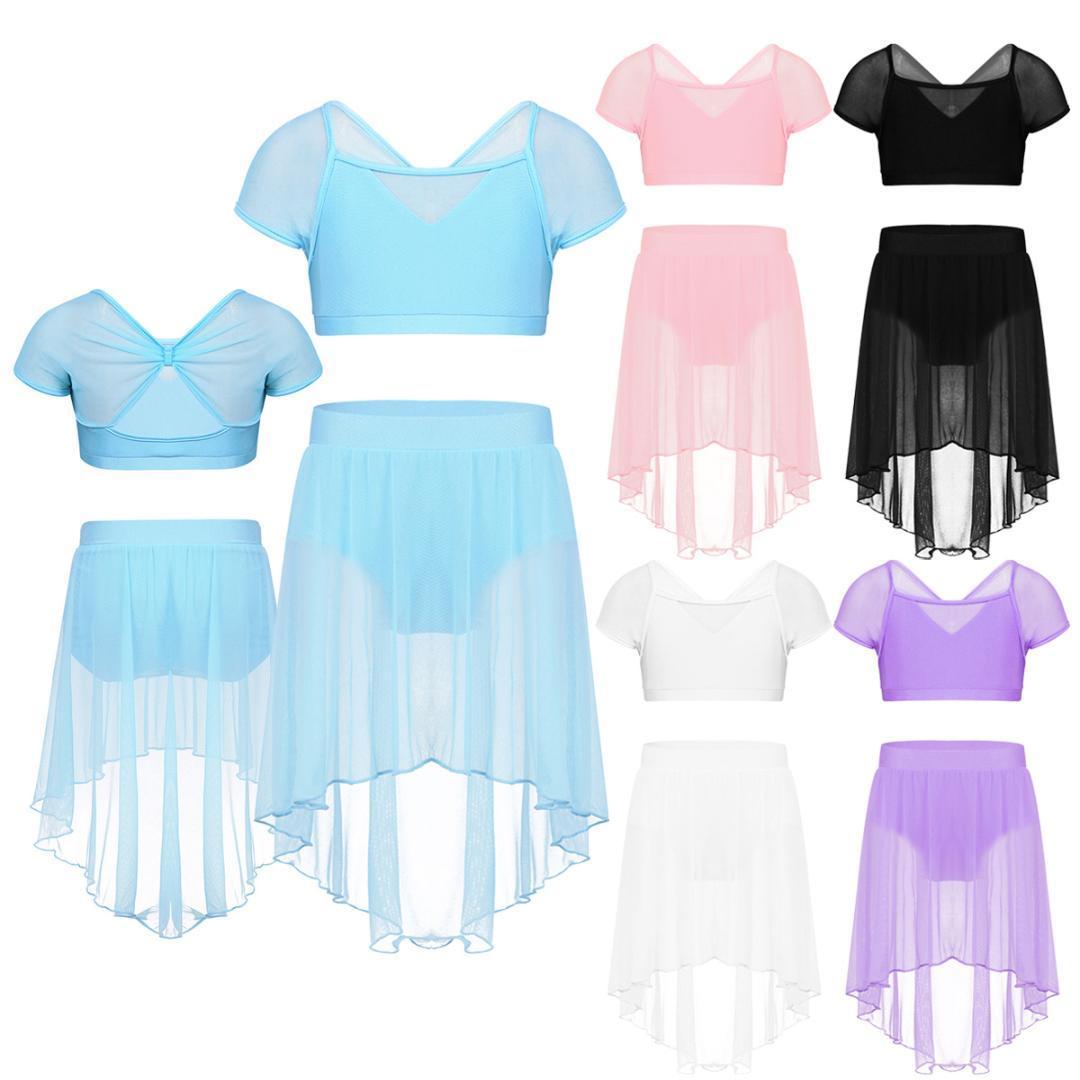 Stage Wear Kid Teens Gymnastics Crop Top Mesh Skirt Set Girls Shorts Suits Lyrical Contemporary Ballet Dance Costumes Performance