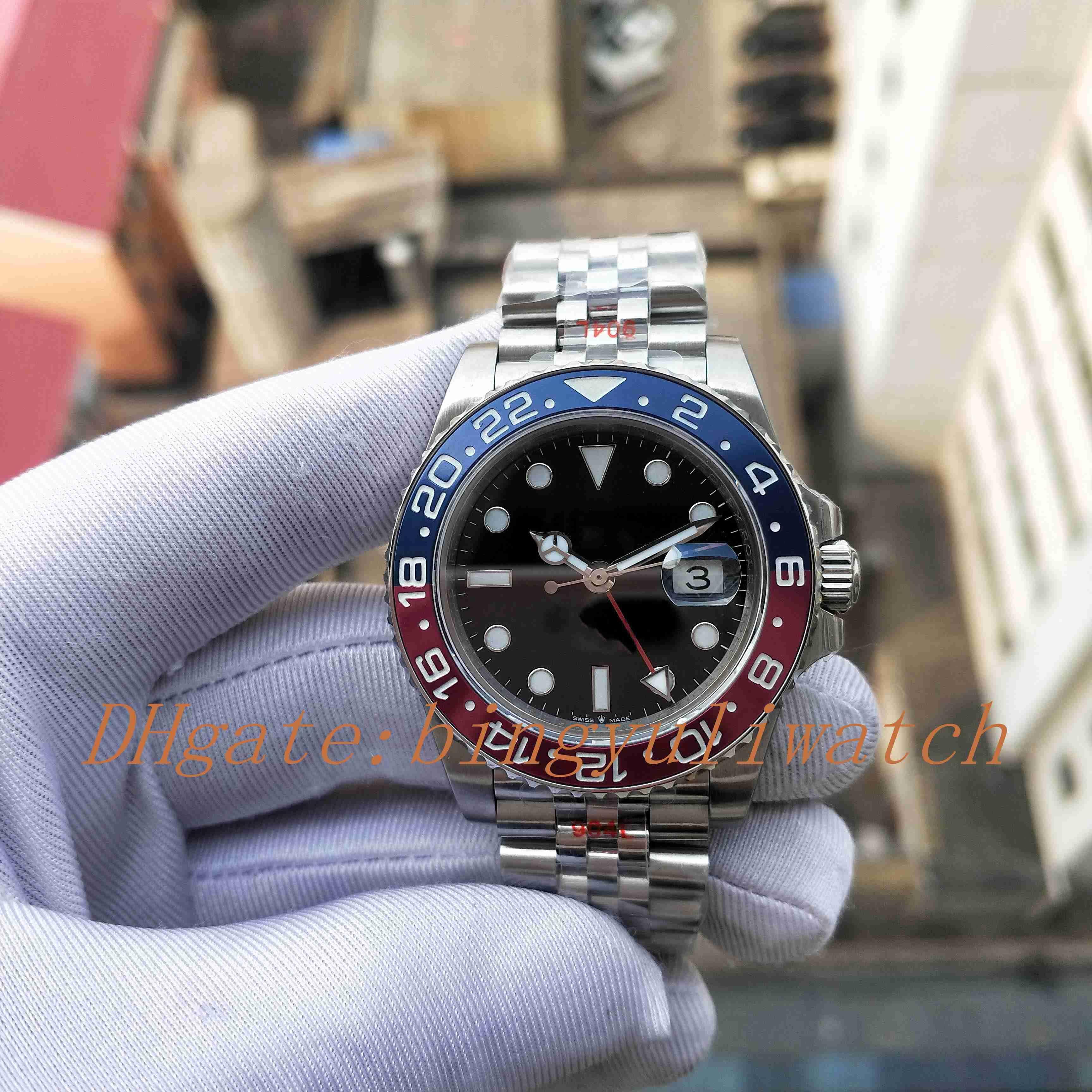 Reloj automático súper GMF fábrica Versión Basilea Mundial GMT II 904L 40MM hombres de Cal.3285 rojo y azul bicolor Cerachrom Bisel reloj 126710BLRO