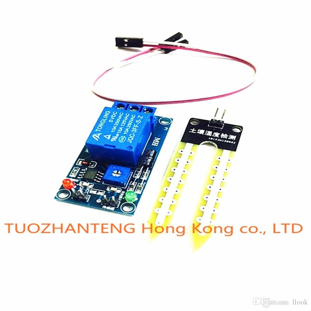 Freeshipping 5pcs NEW DC 12V soil moisture sensor relay control module Automatic watering of the humidity starting switch